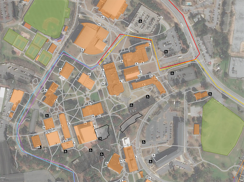 A map of accessibility points on campus