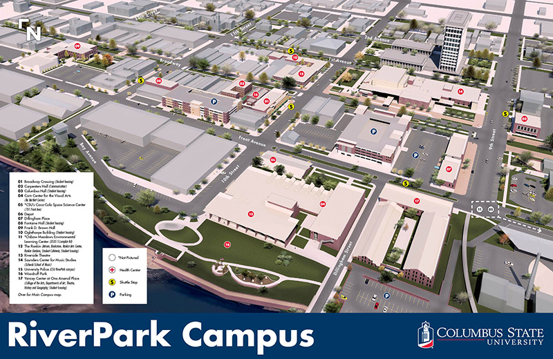 A map of CSU's RiverPark campus